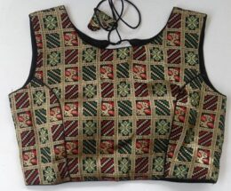 Multicolored zari patterned black silk readymade blouse crop top