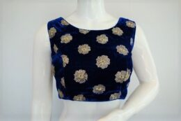 Dark Blue velvet crop top style lehenga ready made blouse