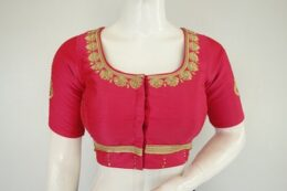 Hot pink raw silk embroidered ready made saree blouse