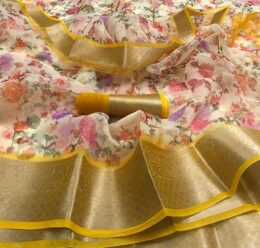 Yellow floral printed organza silk saree with yellow zari border