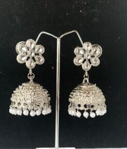 Bright silver toned indian jumkha earring with pearl dangles
