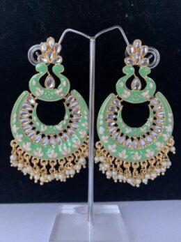 Green enamel gold toned kundan chandbali type earrings