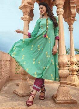 Green kurti with maroon straight pants salwar kameez set