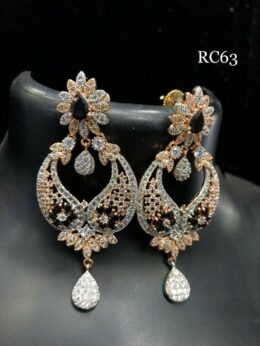 Rose gold finish american diamond earrings