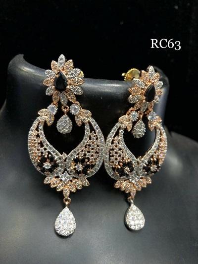 Rose gold finish american diamond earrings