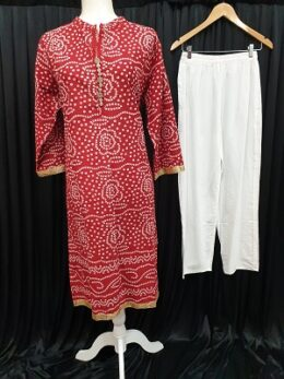 Red bandhani cotton top with plain white pants salwar kameez set