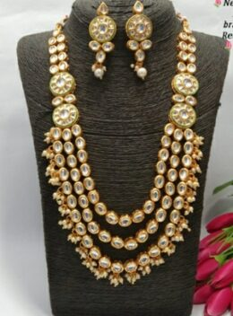 Gold toned multi layered kundan mala set
