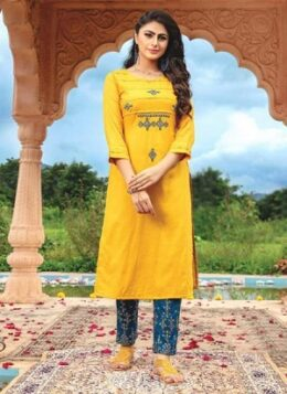 Yellow Rayon Casual Wear Thread Work Kurti With Pant