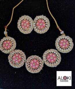 Pink flower shaped Indian fashion jewellery set