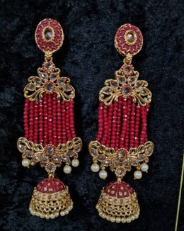 Gold toned indian kundan Red earrings