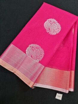 Pink Handloom mercernised saree