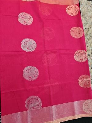 Pink Handloom mercernised saree