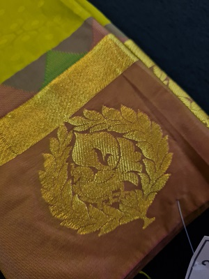 South Indian traditional green and pink fancy silk saree