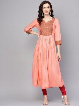 Solid peach rayon anarkali type kurta dress
