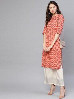 Women Red & Off-White Printed Straight Kurta