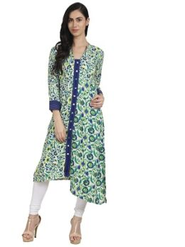 Green printed 3/4th Sleeve rayon Assymetric womens Kurta with Front Open