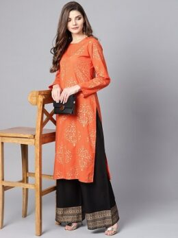 Orange and black printed cotton palazzo set