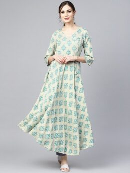 Sage green printed V-neck Angrakha style 3/4th assymetrical sleeve falred kurta with solid pants.