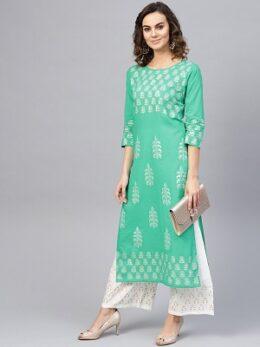 Light Green & White Printed indowestern style 2pc Women's Kurta with Palazzos cotton dress set