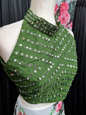 Indowestern white floral lehenga set with green mirrored blouse