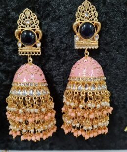 Big size pink enameled jumkha earrings