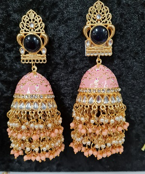 Big size pink enameled jumkha earrings