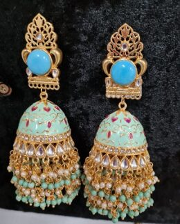 Big size Blue green enameled jumkha earrings