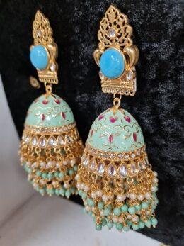 Big size Blue green enameled jumkha earrings