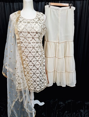 Off White colored sharara suit with all over gota patti work
