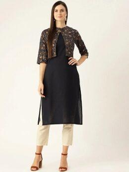 Women Navy Calf Length Three-Quarter Sleeves Straight Solid Printed Cotton Kurta