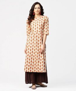 Women's Off white printed half sleeve cotton straight kurta