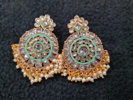 Premium quality green kundan choker set with matching chandbali earrings