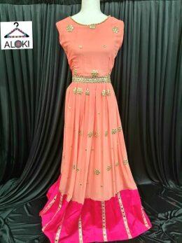 Peach pink georgette anarkali gown