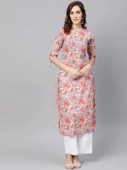 Women White & Coral Pink Floral Print Straight Kurta