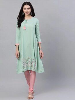 Women Pastel green and pink kurta with pink churidar