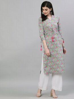 Women Light Grey Calf Length Three-Quarter Sleeves A-Line Floral Printed Cotton Kurta