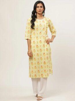 Pastel Yellow floral printed women's Cotton Kurta