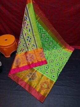 Green Ikkat printed tripura silk saree