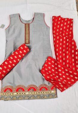 Grey and red Girls Y10 size patiyala salwar set