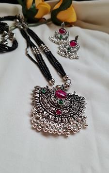 Kolhapuri style Oxidised silver tone long mangalsutra necklace set