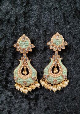 Green gold tone enamel kundan earrings