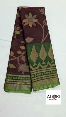 Purple chiffon saree with nature inspired prints