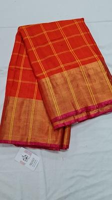 Orange and pink checkered pure uppada silk saree