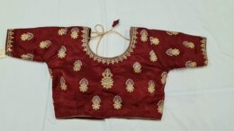 Maroon silk ready made saree blouse with gold embroidery