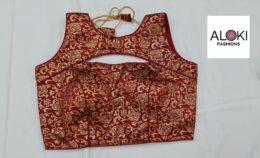 Dark red brocade silk ready made crop top blouse