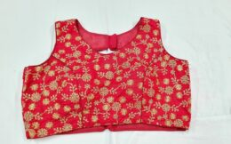 Red embroidered crop top styled back open ready made blouse