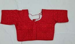 Red chikankari work front open ready made blouse with half sleeves
