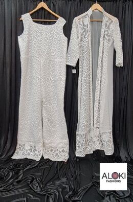 White faux georgette chikankari jumpsuit with over coat