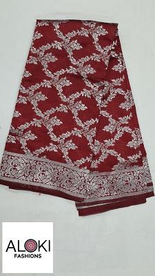 Red Fancy silk with rich banarasi weaving zari