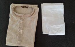 Casual Khaki beige colored Mens kurta Pyjama set
